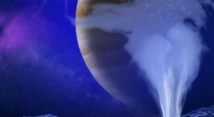 An artist's impression of a water jet erupting from the surface of Jupiter's moon Europa (K Retherford/Southwest Research Institute/PA)