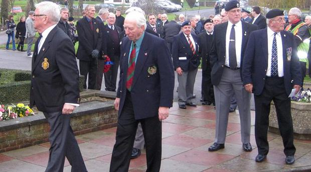 Mouners at the funeral service of ex-Bomber Command pilot Robert Argyle