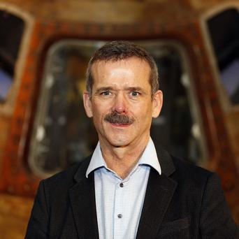 Astronaut Chris Hadfield told pupils how he celebrated Christmas in space