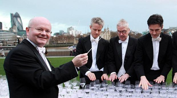 Commuters were treated to a performance from the Royal Philharmonic Concert Orchestra using glasses of water.
