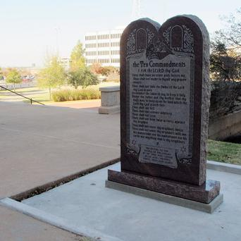 The Ten Commandments monument outside the Oklahoma state Capitol in Oklahoma City. Now the New York-based Satanic Temple wants to put a statue of Satan there.