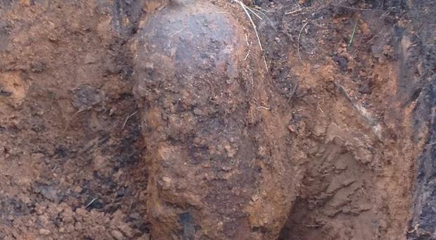 The bomb had been lying hidden beneath the path on Exmoor in Somerset for decades (Avon and Somerset Police /PA)