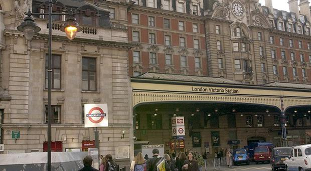 A cement leak has halted the Victoria Line on London's Underground.