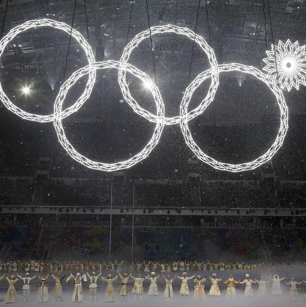 One of the rings forming the Olympic Rings fails to open during the opening ceremony of the 2014 Winter Olympics (AP Photo)