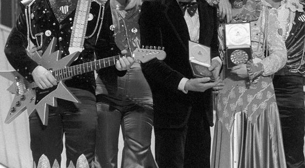 Abba at the Eurovision Song Contest in 1974 which they won with Waterloo