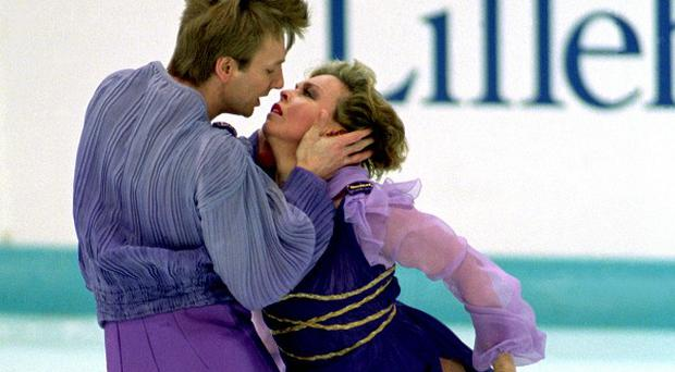 Jayne Torvill and Christopher Dean dance the Bolero at the end of the games at Lillehammer.