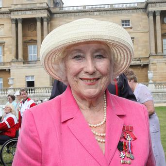 Dame Vera Lynn at a garden party at Buckingham Palace.