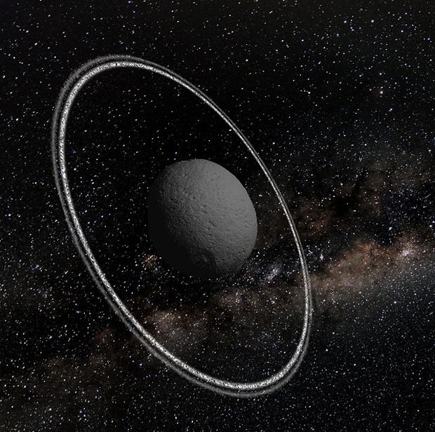 An artist's impression of the asteroid Chariklo which is circled by two rings (Lucie Maquet/PA)