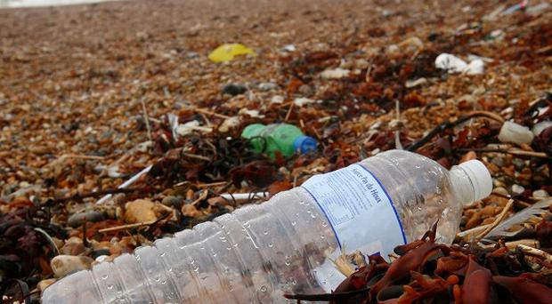 Rubbish left on a beach in Dover as the amount of litter on the UK's beaches reached its highest level ever