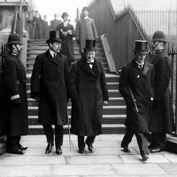 Sir Edward Grey, left of Winston Churchill, made his