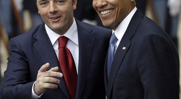 Italian prime minister Matteo Renzi and US president Barack Obama in Rome today. Mr Renzi is auctioning off government cars on eBay