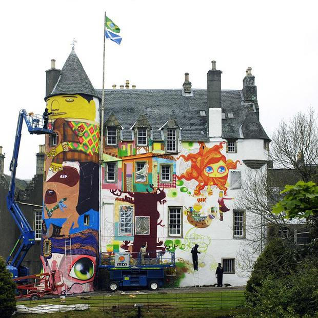 Kelburn Castle near Largs is covered in graffiti