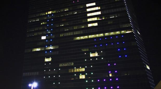 The classic video game Tetris is played on the 29-storey Cira Centre in Philadelphia (AP)