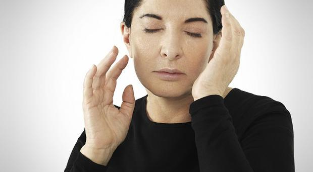 Marina Abramovic preparing for her exhibition