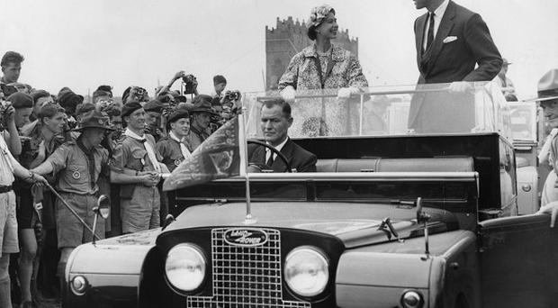 Queen Elizabeth and the Duke of Edinburgh visited the World Scout Jubilee Jamboree camp in Sutton Park, Warwickshire, in 1957