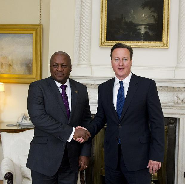 President of Ghana John Dramani Mahama meeting David Cameron