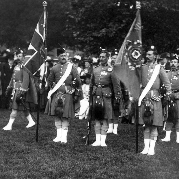 Kilts were worn by soldiers, such as the London Scottish, in the First World War