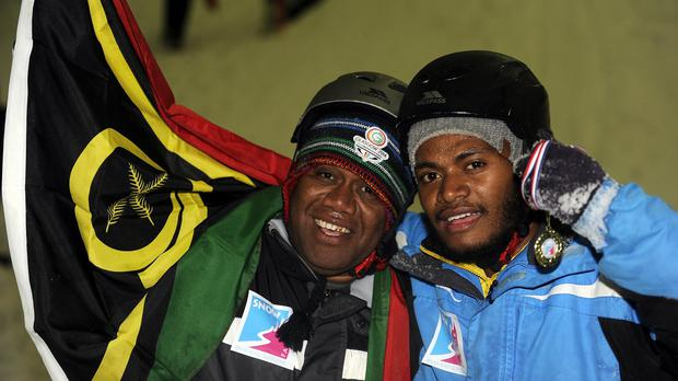 Vanuatu Chef de Mission Henry Tavoa and Yoshua Shing, who won the gold medal for sledging (Macdonald Media)