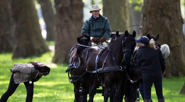 The Duke of Edinburgh stopped at a Little Chef en route to a carriage-driving event
