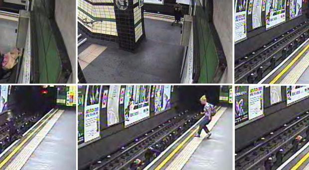 CCTV images of a child in a buggy being blown on to Tube tracks at Goodge Street station on the evening of July 23, moments before a train arrived (PA/British Transport Police)