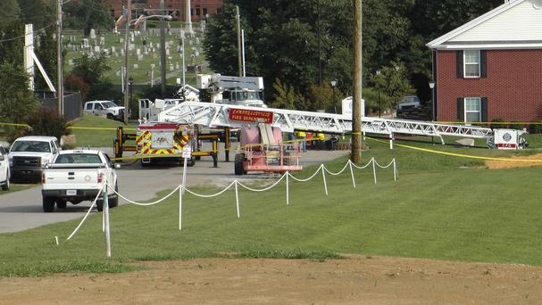 A Campbellsville Fire Department truck at the scene where two firefighters were injured during an ice bucket challenge (AP)