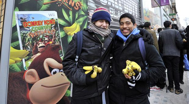 Fans at a London promotion for the Wii game Donkey Kong Country Returns