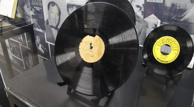 This acetate recording of My Happiness, the first song Elvis Presley ever recorded, has been auctioned for a total price of 300,000 US dollars (£200,000) (AP)