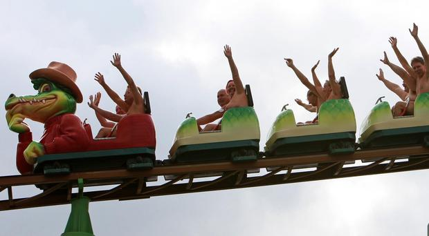 Naked ambition sees rollercoaster riders make thousands