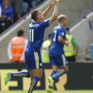 Leicester City's Marc Albrighton celebrates scoring his side's fourth goal during the Barclays Premier League match at the King Power Stadium, Leicester, last August