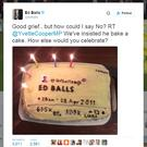 Screengrab taken from the Twitter feed of @edballs of a cake baked by the former Labour MP