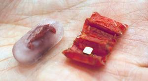 "An ""origami robot"" has been developed that can be swallowed in a capsule (left) to perform simple surgery within the stomach. (Picture: Melanie Gonick/MIT)"