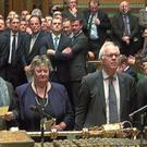 MPs return their result after voting to reject Lord's amendment on EU nationals rights in the House of Commons, London.