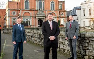 Plans: Mark Bleakney, southern regional manager, Invest NI with Maurice Healy, chief executive of Glantus and Derek Andrews, head of international investment, Invest NI