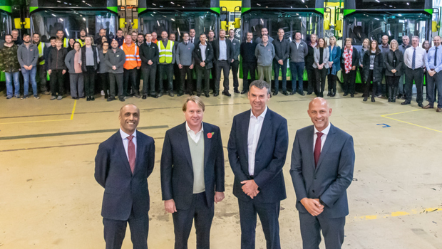 From left: New Wrightbus CEO Buta Atwal; executive chair Jo Bamford; Jon Harman, head of fleet at First Group UK Bus; and John McLeister, Wrightbus