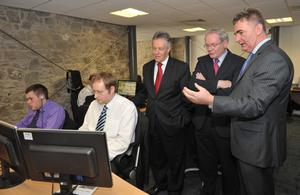 First Minister Peter Robinson and Deputy First Minister Martin McGuinness with First Derivatives CEO Brian Conlon in the company's Newry headquarters