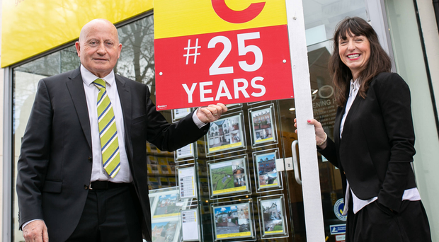 Gerry and Kirby O'Connor outside their agency in Stranmillis