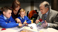 Students from St Teresa's PS in Belfast joined Cathriona Hallahan of Microsoft Ireland and Robert Fitzpatrick from the Odyssey Trust to make announcement