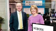 Des Gartland of Invest NI with Carmel Quigg from Modern Democracy