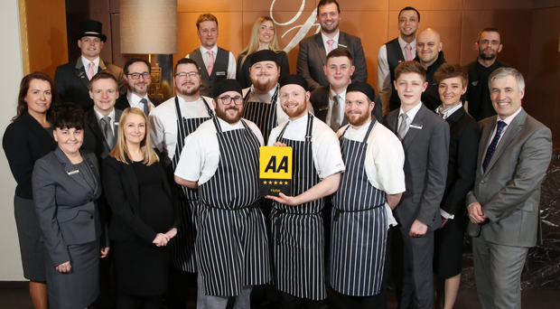 Fitzwilliam Hotel staff including general manager Cian Landers (front row right) and Siobhan O'Sullivan, director of sales and marketing (far left)
