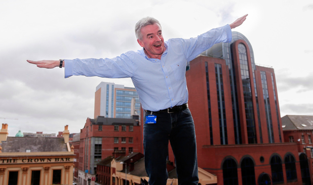 Flying high: Ryanair boss Michael O'Leary before a 2016 press conference in Belfast