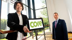 Patricia O'Hagan MBE, CEO of Core Systems, and Steve Harper, executive director of International Business, Invest NI