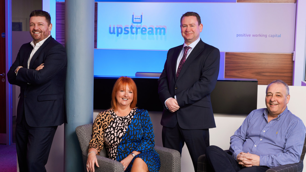 (From left) Alan Wardlow, sales director, Judith Totten, owner and managing director, Aidan Dolan, head of business development and Colin Dundas, finance director at Upstream