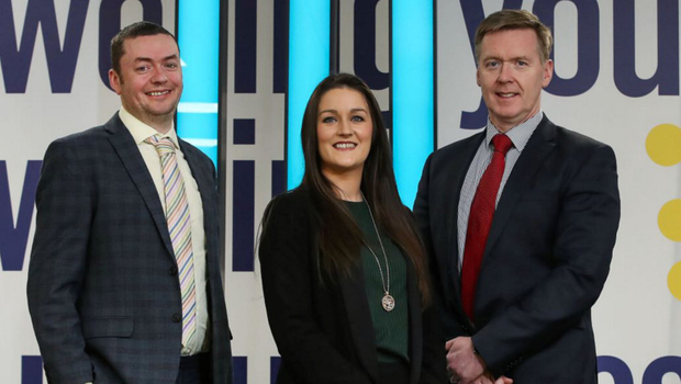 From left, Mark Crimmins, Ulster Bank's head of NI; Melissa Campbell, managing director, McGimpsey's Removal and John Ferris, entrepreneur development manager, Ulster Bank