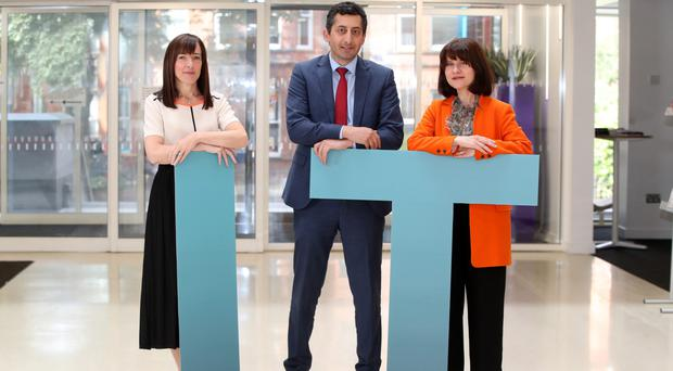 At the launch are (left) Dr Karen Rafferty, QUB; Peter Guzhar from sponsors Carson McDowell; Margaret Canning, Business Editor, Belfast Telegraph