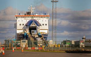 New frontier: Cars driving off P&O ferry in Larne