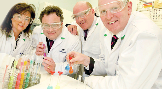 Dr Lillian Cromie, director of science at Norbrook, Employment and Learning Minister Dr Stephen Farry, Derek Rodgers, operations director at Norbrook, and Brian Doran, chief executive of Southern Regional College.