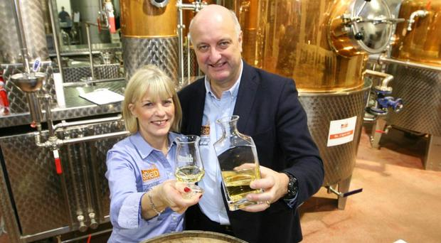Pat Rigney and his wife Denise at The Shed Distillery in Drumshanbo