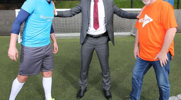 Andrew Currie, Brightwater legal consultant; Philip Clarke, manager at Brightwater Belfast, and Tom Mallon, MS Society fundraising manager