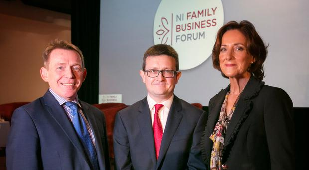 Michael McQuillan, Darren McDowell and Vicki O'Toole at the family business forum
