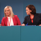 Sinn Fein's Gerry Adams, Michelle O'Neill and Mary Lou McDonald at the opening of the party's ard fheis in the RDS in Dublin
